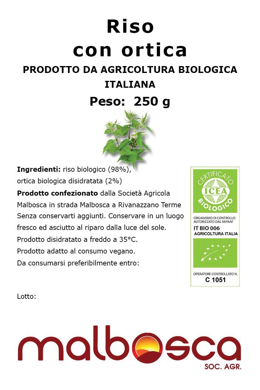 25 riso con oortica biologico etichetta